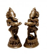 A Set of God Ganesha Indian Religious Gift Brass Idol Sculpture Statue 5.2
