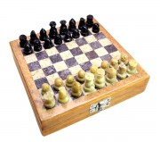 Classic Chess Inlaid Wood Board Game with Wooden Chess Set Marble Soft Stone 5.2